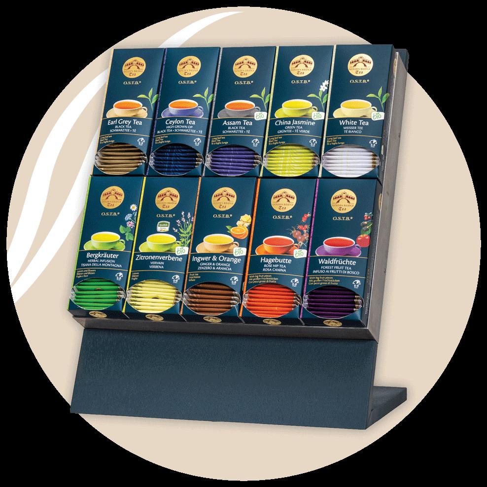 Teesorten auf Display