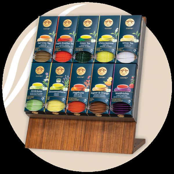 verschiedene Teesorten auf display